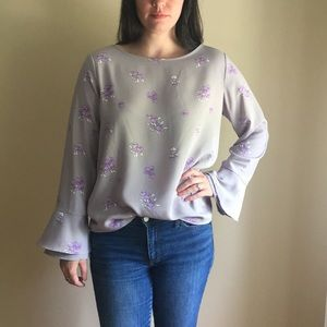 Ann Taylor Floral Blouse with flare sleeve